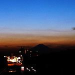 茅ヶ崎から富士を眺めた夕日1